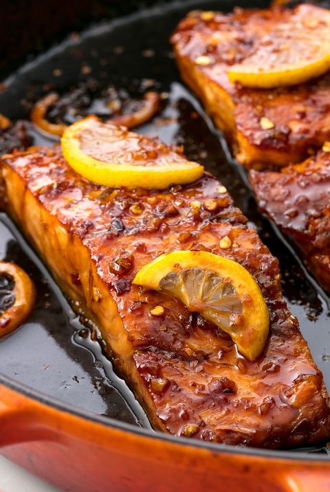 น้ำผึ้ง Garlic Glazed Salmon Horizontal