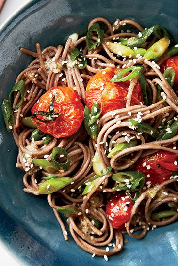 Rostning cherry tomatoes in a mix of miso, ginger, sesame, lime juice, and honey creates a tangy, bright sauce for soba noodles; try adding shrimp for an even more substantial dish.Recipe: Soba Noodles with Miso-Roasted Tomatoes