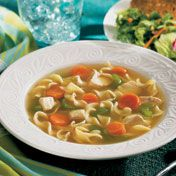 Orada's nothing better than a good bowl of soup, like this quick-cooking and delicious chicken noodle soup, briming with chicken, colorful vegetables and egg noodles.