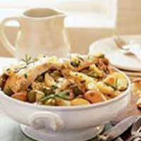 The fragrance of Rosemary-Garlic Chicken spiked with zesty green olives will entice hungry guests into your kitchen. This dish yields a savory broth; serve it along with a crusty loaf of French bread for dipping.