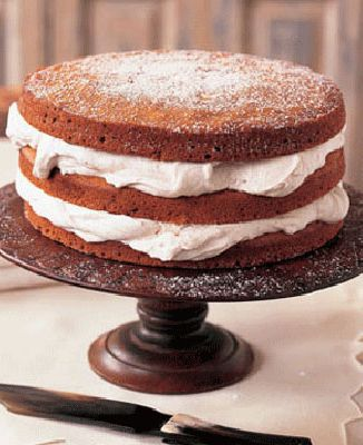 moist and spicy layers of our Stacked Applesauce Cake need nothing more than a cool complement of cinnamon-flavored whipped cream to sandwich them together.Recipes: Stacked Applesauce CakeCinnamon Whipped Cream