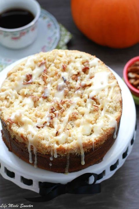 nutella filled pumpkin streusel cake with chai spice glaze