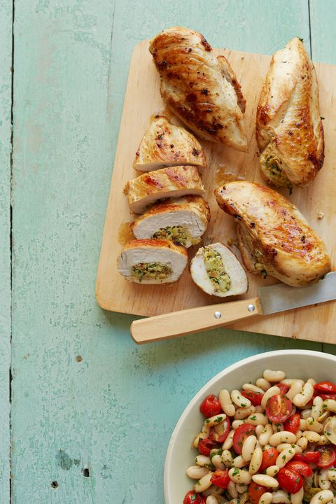 artičok and almond stuffed chicken breasts