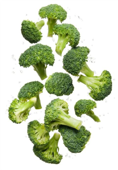 Zdravo eating clean organic fresh vegetable Broccoli flying and bouncing up into the air in studio on a white background for wellness