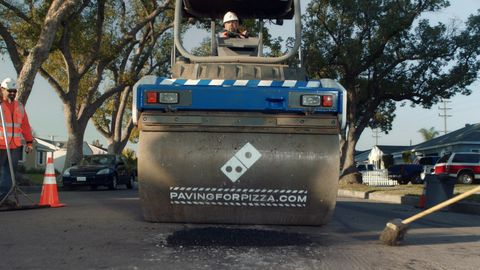 domino's Pizza paving potholes