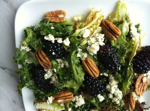 Broiled escarole with blackberries, blue cheese, and pecans