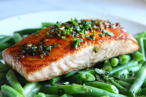 Recept for Cilantro Chili Lime Glazed Salmon and Green Beans