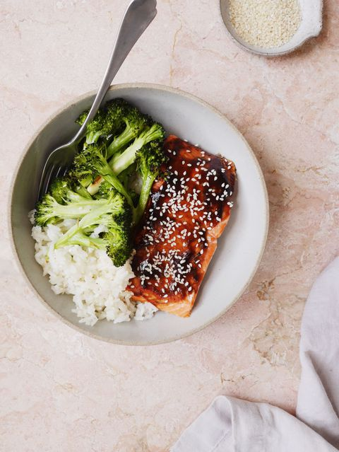 Hoisin-Glazirano Salmon with Broccoli and Sesame Rice Vertical